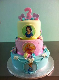 Disney Princess Birthday Cake Or One Layer With Different Princesses Going Staci Krell No Ordinary