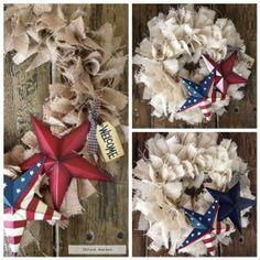 Burlap Rag Wreath Independence Day!