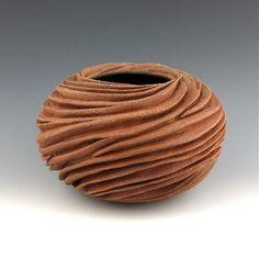 Round Carved Sculptural Ceramic Pottery Vessel