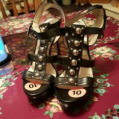 SALEMICHAEL KORS STRAPPY STUDDED SANDALS 5 inch Heels, 1 1/4 inch Platform Black Leather Strappy Heels. Comfortable with a little more than a Stick stiletto heel. Double ankle wrap. You won't be disappointed when heads turn over the Holidays! Michael Kors Shoes Heels