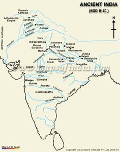 Ancient India History map depicting names of important historical places of Ancient India, Ancient India map, ancient india cultures and facts of ancient india. Ancient Indian History, History Of India, Ancient Map, History Images, Modern History, History Timeline, History Facts, Geography Map, India Facts