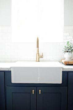 Brass Hardware: navy, white & brass kitchen // brittanyMakes Kitchen Reveal