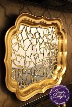 Spray dollar store tray silver not this gold, add broken mirror. Mirror Tray, Mirror Glass, Vanity Tray, Coastal Bathrooms, Wow Art, Diy Projects To Try, Dollar Stores, Glass Art, Diy Home Decor