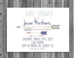 Arrow Baby Shower Invitation, 5x7, digital file download, printable, personalized, customized, invite, hipster, mint, coral, blue