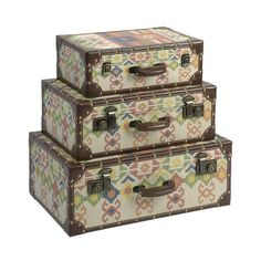 Set of three storage trunks with nailhead accents and Spanish and Navajo-inspired motifs.   Product: Small, medium and large trunk