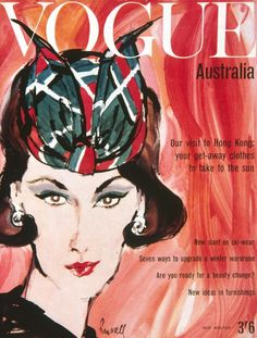 1961: Australian Vogue's first illustrated cover by former creative director Patrick Russell.