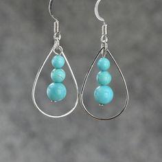 Turquoise tear drop Hoop Earrings handmade ani designs #bisuteria #bisuterias #bisuteriafina #bolivia
