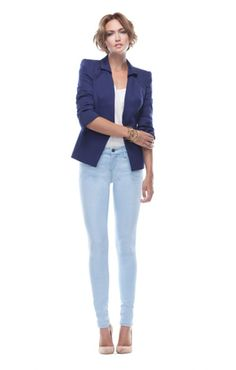 """Top off our """"Lure"""" skinnies in Margot with a navy blazer for a smart spring look...luv this @ BG...."""