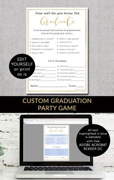 Simply designed custom cards, invitations & printable by OhSimple Fun graduation party game Graduation Party Planning, College Graduation Parties, Graduation Party Supplies, Graduation Banner, Graduation Party Invitations, Graduation Ideas, Toddler Party Games, Custom Cards, Senior Games