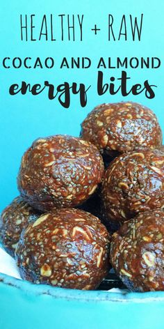 These Energy Bites are full of protein and fiber and are the perfect pre- or post-workout snack portable pick-me-up or healthy treat. They're also DELICIOUS! Made with almond butter coconut oil raw cocao flax chia and dark chocolate! Almond Recipes, Raw Food Recipes, Snack Recipes, Cooking Recipes, Healthy Recipes, Healthy Breakfasts, Food Tips, Food Ideas, Healthy Tips