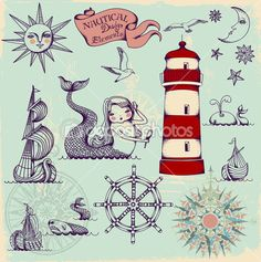 Nautical Design Elements — Imagen vectorial #27317431