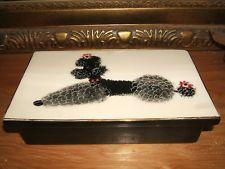 Vintage Hedi Schoop Poodle Dog Dresser Vanity Box - Black and White