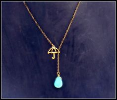 umbrella and rain drop necklace I love this. I want this!