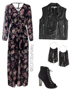 """""""Edgy Floral"""" by kelley-james on Polyvore featuring McQ by Alexander McQueen, Boohoo and SELINA"""
