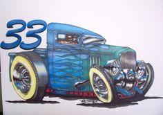 33 chevy ratster hot rod rat fink monster wierdo art