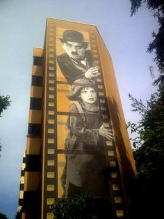 Street Art of The Kid by Charlie Chaplin in Cannes, France
