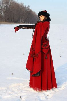 . amazing christmas cloak coat with embroidery perfect for that red riding hood , snow white at christmas feeling fairytale fashion for grimm followers and en trend too