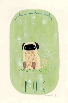 "Pug - Original painting, 6""x4"" by Mark B (wintersmoke) on Etsy, $30.00"