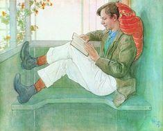 Esbjörn, Lecture sous la Véranda, aquarelle de Carl Larsson 1918