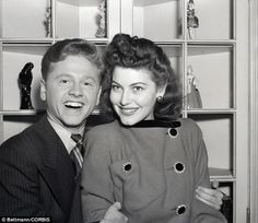 Youthful film star Mickey Rooney and Ava Gardner, an 18-year-old actress, are shown after announcing their engagement in 1941