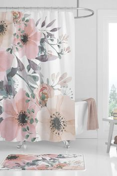 Pretty bathroom ideas: pretty floral shower curtains for girls. This cute girl shower curtain would look lovely with coral, peach, or pink pastel bathroom decor. Find this girly bathroom shower curtain at: Bath ideas children girls Pastel Bathroom, Girl Bathroom Decor, Girl Bathrooms, Bathroom Kids, Small Bathroom, Silver Bathroom, Mauve Bathroom, Cream Bathroom, Bathroom Showers