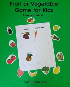 Fruit or Vegetable? Game for Kids - free printable
