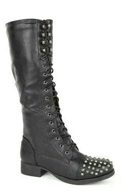 Tall black boots with studs