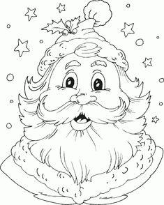 santa head coloring page - Coloring.com