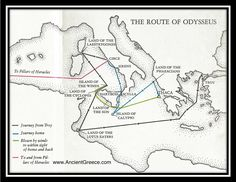 This is Odysseus' route; it shows every where he ended up on his way back to his home, Ithaca.