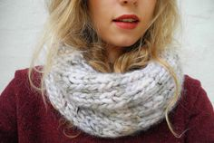 melimelo: Infinity scarf   Size 10 needles, super chunky yarn. cast on 35 st., purl 2 knit 3. knit until 30in. in length