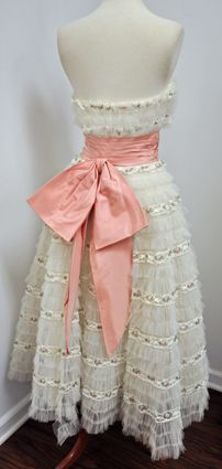 1950's Vintage Prom Dress Strapless Lace & Tulle Cupcake Pink Flowers, Cinch Waist, Huge Bow