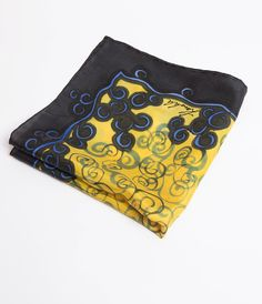 Hand Painted Silk Mens Wedding Silk Pocket Square by LigaKandele