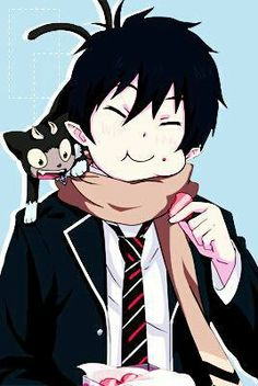Okumura Rin and Kuro || Ao no Exorcist × Blue Exorcist