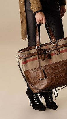Large Canvas Check Detail Alligator Tote Bag   Burberry