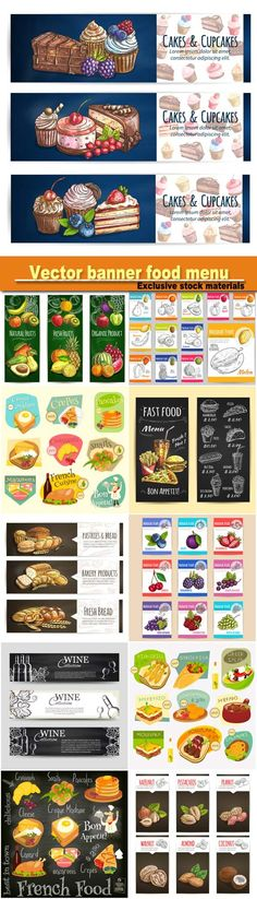 Vector #banner #food #menu, #cafe #leaflet, #pastry #shop #signboard