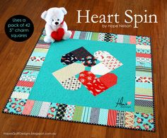 """I am so excited to introduce to you my newest pattern - Heart Spin . This love ly heart quilt is charm pack friendly. One 42 piece, 5"""" ch..."""
