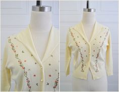 1950s Luisa Spagnoli Anglomere Embroidered Cardigan Sweater