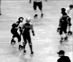 """rdjunkies: """" Juke-spinning, a popular WFTDA champs pastime. Also proof that even at the highest level, swinging yourself butt-first at the line doesn't result in a jammer takedown. There are better. Roller Derby Drills, Roller Derby Skates, Quad Skates, Roller Skating, Rose City Rollers, World Of Sports, Cross Training, Leather And Lace, Champs"""