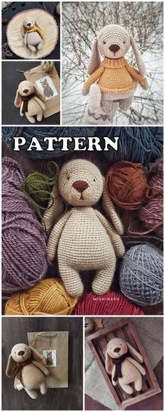 Amigurumi Organic Toys Best Crochet Patterns - Amigurumi Patterns Crochet Gifts, Crochet Toys, Knit Crochet, Dog Pattern, Crochet Patterns Amigurumi, Crochet Animals, Needlepoint, Projects To Try, Bunny