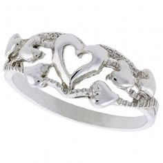 Sterling Silver Hearts Ring Polished finish 5/16 inch wide.