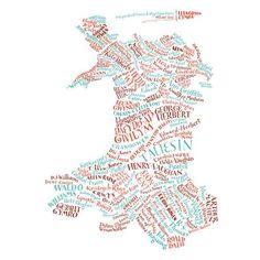 Literary Map of Wales / Map Llenorion Cymru