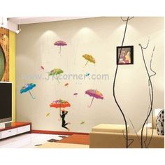 Just an IDEA for a #wall design ..maybe a bedroom somewhere for #teens or young adults? #wallsticker #walldecor   #umbrella could #paint some #rain #water flowing over them #dancing the umbrellas around in #fun #fashion ? #teenrooms #idea #homedecor #forthehome