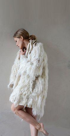 White and golden felt coat fur free kimono by vilte OOAK by vilte, $2499.00