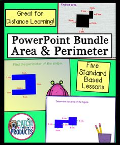 Teaching how to find area of rectangles of compound shapes or how to teach area and perimeter of irregular shapes & of triangles math activities for back to school distance learning or online for kids through PowerPoints on Teachers Pay Teachers for 4th grade elementary math students. Virtual lessons & word problems aid curriculum learning common core standards. (Level 4) Fourth grade teaching on Teacher Pay Teachers. Texas Teachers #iteachmath #iteachtoo #teachersfollowteachers #education… Upper Elementary Resources, Elementary Math, Teaching Resources, Find The Perimeter, Area And Perimeter, Texas Teacher, Teacher Pay Teachers, Math Lesson Plans, Math Lessons