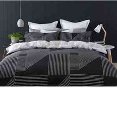 Reversible Linear Quilt Cover Set - Single Bed