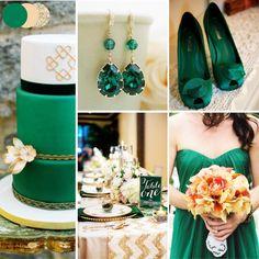 Autumn Wedding Colour Themes: Emerald, Peach & Glittering Gold via carmenseverafter.com (Carmen's Wedding Blog) Hamilton, Ontario