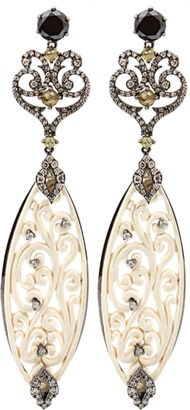 Marissa Collections BOCHIC Carved Mammoth Drop Earrings With Diamonds