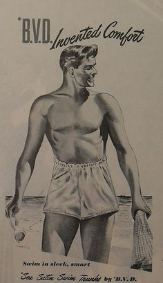 1950s BVD ad for satin swim trunks. wow, look at how high those are!