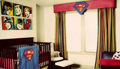 A #Super Hero  #nursery decorated for a #baby boy with custom baby bedding.  #DIY custom #Superman baby bedding and homemade window valance.