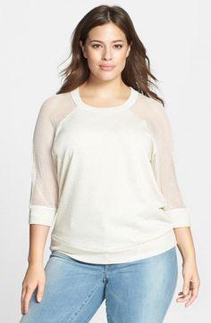 Halogen Mesh Sleeve Sweatshirt Plus   Activewear, Pullovers, Sweater and Clothing